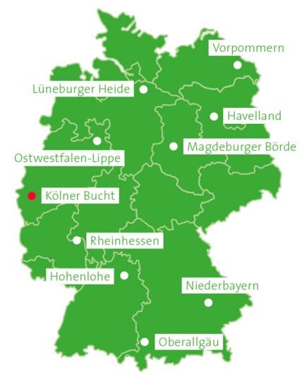 Deutschlandkarte Franz-Projekt mit Kölner Bucht