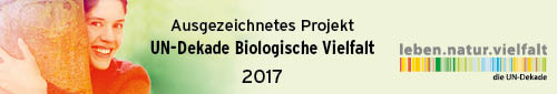 Auszeichnung der UN-Dekade Biologische Vielfalt 2017 Logo für ausgezeichnetes Projekt Summendes Rheinland der Stiftung Rheinische Kulturlandschaft